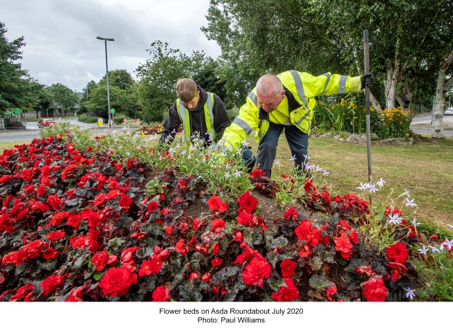 Flower beds on asda roundabout July 2020