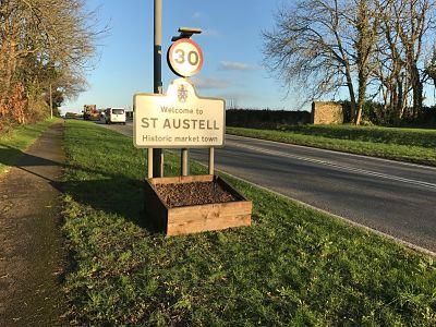 flower bed by st austell sign bare